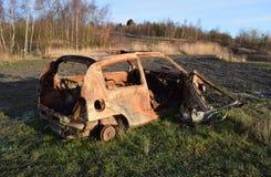被窃取的烧坏的汽车 免版税库存图片