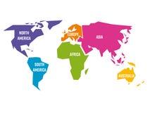 被简化的世界地图被划分对六个大陆用不同的颜色 简单的平的传染媒介例证 向量例证