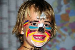 被绘的儿童表面 库存图片