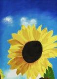 被绘的向日葵 免版税库存照片