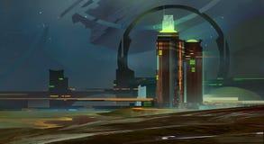 被绘的夜一条意想不到的城市地平线 免版税库存照片