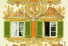 被绘的巴伐利亚房子 库存图片