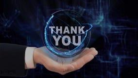 被绘的手展示概念全息图感谢您在他的手上 股票视频