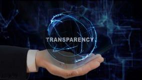 被绘的手显示概念在他的手上的全息图透明度 库存图片