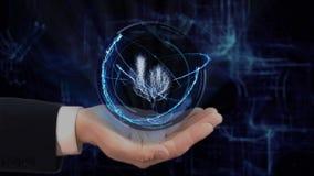 被绘的手显示概念在他的手上的全息图3d树 股票录像