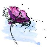 被绘的抽象背景花卉 库存图片