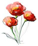 被绘的抽象背景花卉 图库摄影