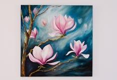 被绘的艺术品-在蓝天的兰花 库存图片