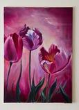 被绘的艺术品-紫罗兰色或紫色郁金香帆布 库存照片