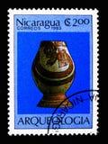 被绘的花瓶,考古学serie,大约1983年 免版税图库摄影