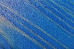 被绘蓝色和被涂清漆的松木背景 免版税库存图片