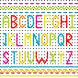 被绣的字母表和边界 图库摄影