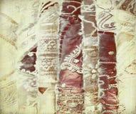 被绣的纸丝绸水彩 库存图片