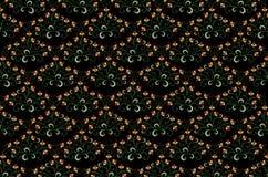 被绣的花束无缝的黑背景的样式与风格化橙色花的 免版税库存图片
