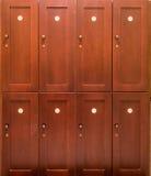 被编号的木衣物柜 库存图片
