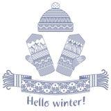 被编织的冬天围巾和手套和盖帽 免版税库存照片