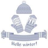 被编织的冬天围巾和手套和盖帽 库存照片