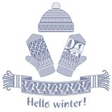 被编织的冬天围巾和手套和盖帽 库存图片