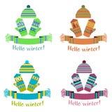 被编织的冬天围巾和手套和盖帽 图库摄影