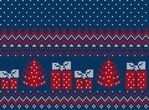 被编织的圣诞节和新年样式 免版税库存照片
