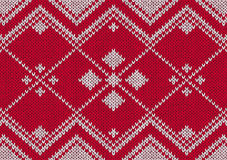 被编织的模式红色无缝的样式白色 库存图片