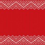 被编织的红色圣诞节几何装饰品 与空的地方的冬天无缝的编织背景您的文本的 免版税库存照片