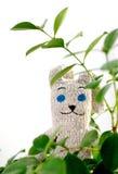 被编织的背景绿色野兔留下玩具 库存照片
