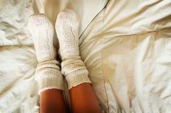 被编织的袜子 免版税库存图片