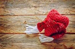 被编织的情人节心脏 库存照片