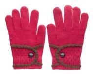 被编织的手套 在白色背景隔绝的手套 手套每t 免版税库存照片