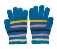被编织的手套 在白色背景隔绝的手套 手套每t 免版税图库摄影