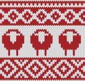 被编织的无缝的冬天样式 免版税库存图片