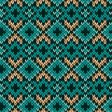 被编织的无缝的样式主要在绿松石 免版税库存照片