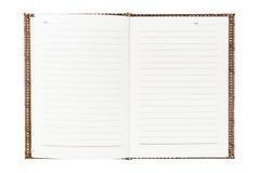 被编织的木笔记本 库存图片