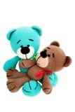 被编织的玩具-两头镶边的开会熊 免版税图库摄影