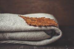 被编织的羊毛羊毛衫和橡木叶子 免版税库存照片