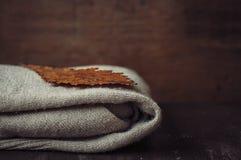 被编织的羊毛羊毛衫和橡木叶子 库存图片