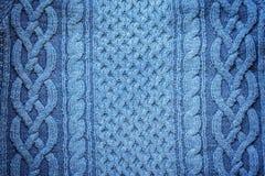 被编织的羊毛背景,蓝色纹理 免版税库存图片