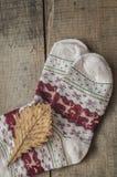 被编织的羊毛袜子和橡木叶子 图库摄影