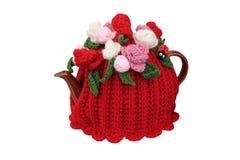 被编织的茶壶套 库存照片