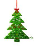 被编织的织品圣诞树与装饰品的 库存图片