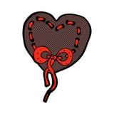 被缝的心脏可笑的动画片 图库摄影