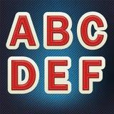 被缝的织品字体A-F 库存照片