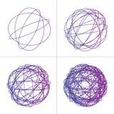 被缠结的圈子线团集合,色的复杂纹理 混乱五颜六色的被缠结的圈子 混乱条纹 查出的向量例证 免版税图库摄影