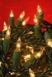 被缠结的圣诞灯 库存照片