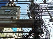 被缠结的电缆绳 免版税库存图片