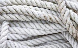 被缠结的白色船舶绳索 库存图片