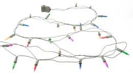 被缠结的圣诞灯 免版税库存照片