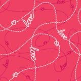 被缠结的线和心脏无缝的样式 重复与心脏、爱字法和飞奔的被缠结的线的抽象背景 免版税库存图片