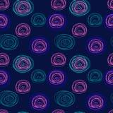 被缠结的螺纹盘旋在蓝色背景的无缝的抽象样式 库存照片